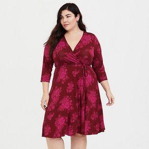 torrid Dresses - Torrid Red Floral Faux Wrap Dress NWT Size 1X&2X